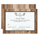 Country Rustic Monogram Branch & Wood Wedding RSVP Card
