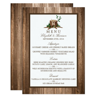Country Rustic Monogram Tree & Wood Wedding Menu Card