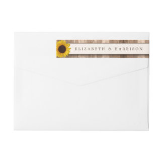 Country Rustic Sunflower & Brown Wood Wedding Wrap Around Label