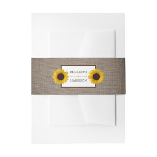 Country Rustic Sunflower & Burlap Wedding Invitation Belly Band