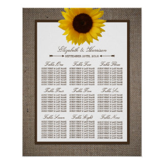Country Rustic Sunflower & Burlap Wedding Poster