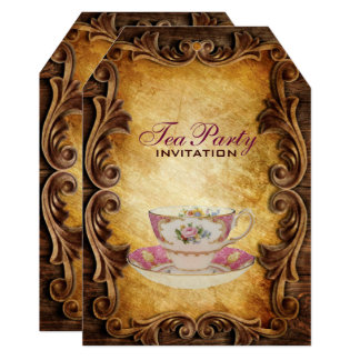 country rustic teacup bridal shower tea party card