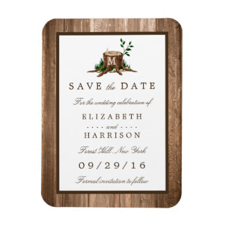 Country Rustic Wood Monogram Tree Save The Date Rectangular Photo Magnet