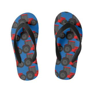 Country Style Red Tractor Boys Flip Flops