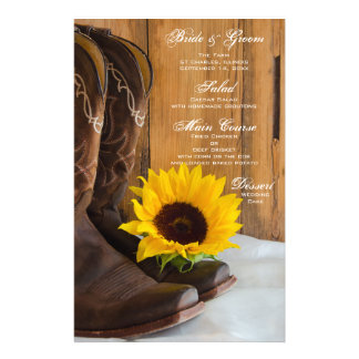 Country Sunflower Western Wedding Menu