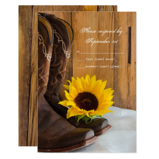Country Sunflower Western Wedding RSVP Response Card