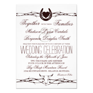 Country Western Barbed Wire Wedding Invitations
