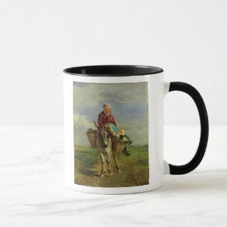 Country Woman Riding a Donkey Mug