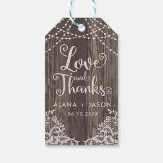 Country Wood and Lace Wedding Favor Tag