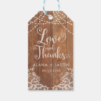 Country Wood and Lace Wedding Favor Tag, Rustic Gift Tags
