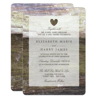 Country Wood Heart Wedding Card