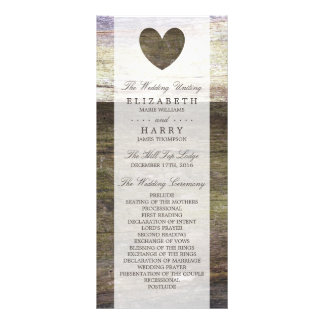 Country Wood Heart Wedding Program Rack Card Design