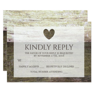 Country Wood Heart Wedding RSVP Card