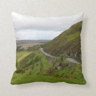 Countryside road bends around hill in Ireland Cushion