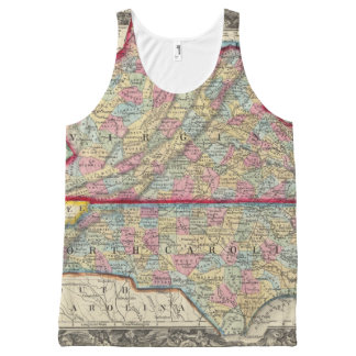 County Map Of Virginia, and North Carolina All-Over Print Singlet