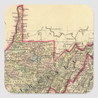 County map West Virginia Square Sticker