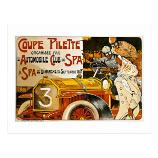 Coupe Pilette Vintage Spanish Automobile Poster Postcard
