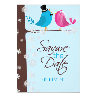 Couple Birds on Branch | Winter Save the Date Card