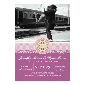 Couple hugging at the train station/pink theme card