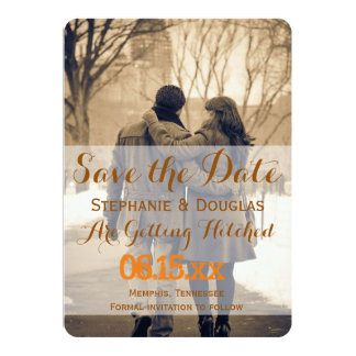 Couple in love at the park winter/Save The Date Card