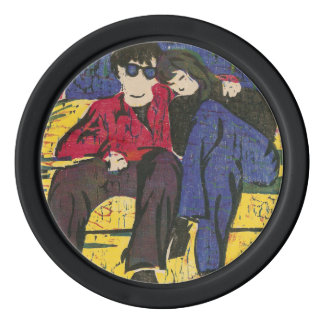 Couple in Love Woodcut Print Blue Red Yellow Poker Chips Set
