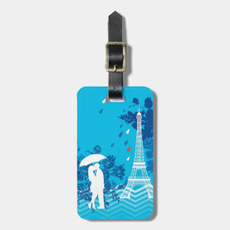 Couple in Paris with Eiffle Tower Bag Tag