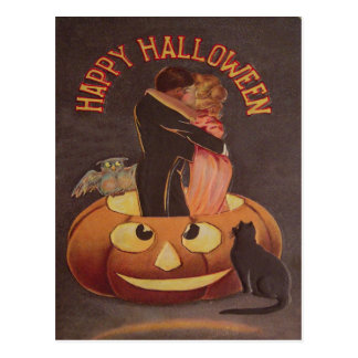 Couple Kissing Owl Jack O Lantern Black Cat Postcard