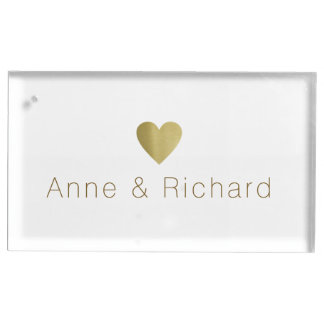 couple names with a faux gold heart, wedding table card holder