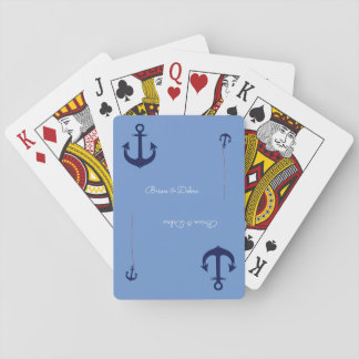 couple names with anchors blue poker deck