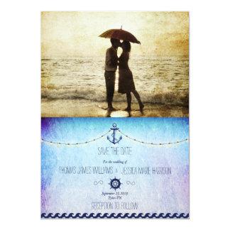 Couple on the beach/nautic theme 13 cm x 18 cm invitation card
