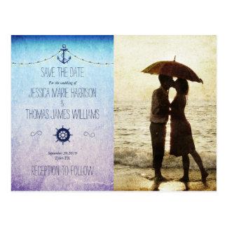 Couple on the beach/nautic theme postcard