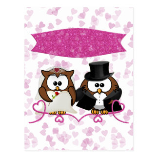 couple owl postcard