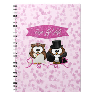 couple owl - save-the-date note books