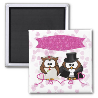 couple owl square magnet