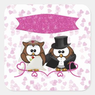couple owl square sticker
