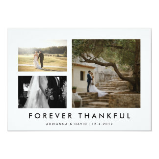 Couple Photo Wedding Forever Thankful Minmalist Card