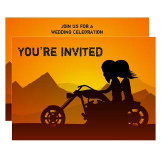 Couple Riding Motorcycle Mountains Wedding Invite