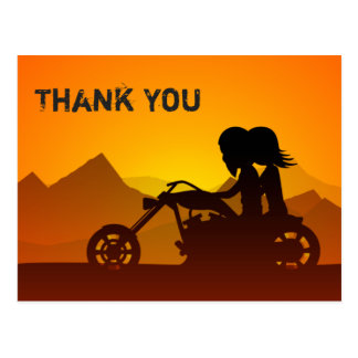 Couple Riding Motorcycle with Mountains Thank You Postcard