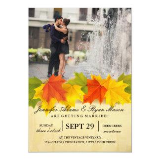 Couple romance kiss in fountain/fall theme card