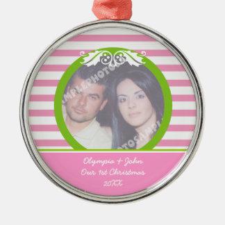 Couple s firs 1st Christmas wedding photo ornament