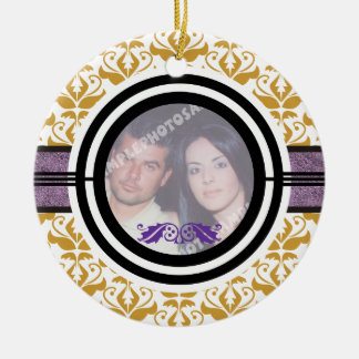 Couple's first 1st Christmas damask photo ornament