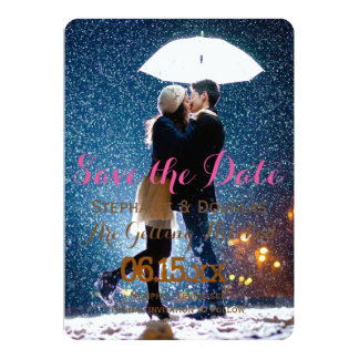 Couple with umbrella kissing at snow/Save The Date 13 Cm X 18 Cm Invitation Card