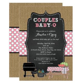 Couples Baby Shower, girl baby-q, backyard BBQ Card