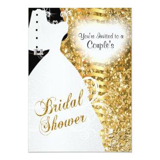 Couple's Bridal Shower in an Elegant Gold Glitter Card