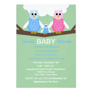 Couples Coed Boy Baby Shower Invitation Owls