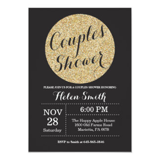 Couples Shower Black and Gold Glitter Invitation