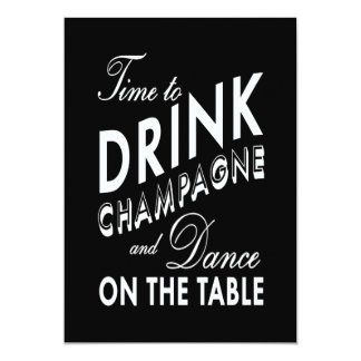 """Couple's Shower - Time to Drink Champagne 5"""" X 7"""" Invitation Card"""