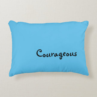 """Courageous"" Blue Accent Pillow"