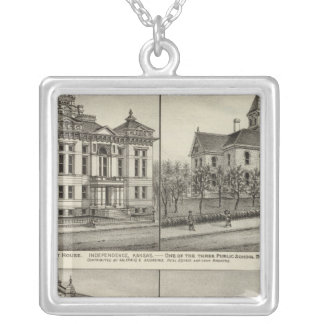 Court House, Kansas Silver Plated Necklace