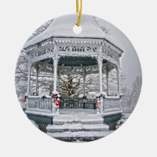 Courthouse Gazebo in the Snow Christmas Ornament